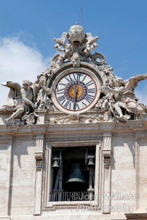 The clock and bells of St Peters Basilica, the Vatican