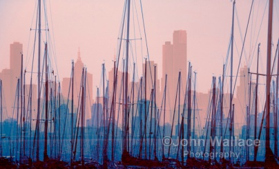 An abstract compilation of the city skyline across the harbour in early evening
