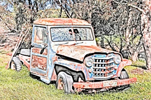 A old vehicleis left to die rusting and discarded in a corner of a field. This image is a photograph converted to a pencil drawing