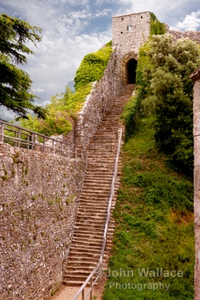 Steps to the keep of Carisbrooke Castle on the Isle of Wight, England, UK. A historic motte-and-bailey castle c1100