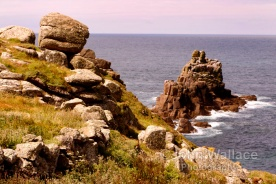 The rocky coastal formation of the Conservation Park at Lands End, Cornwall, England