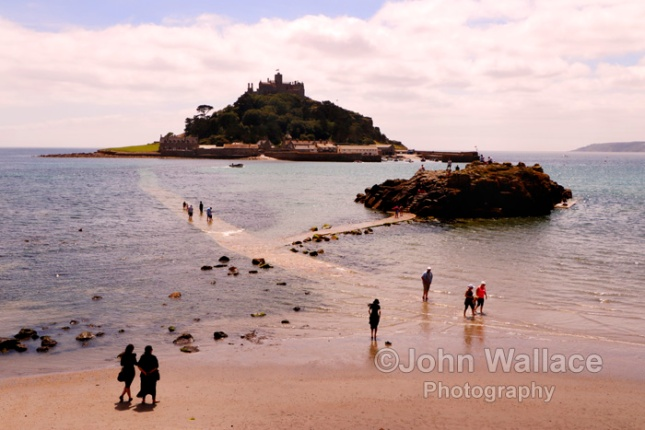 The causeway to Saint Michael's Mount at Marazion near Penzance in Cornwall, England