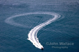 A fun ride at sea leaves an abstract design in the wake