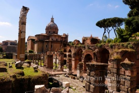 A view across the Roman Forum in Rome Italy