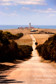 The dusty road to Cape Willoughby Lighthouse on Kangaroo Island, South Australia