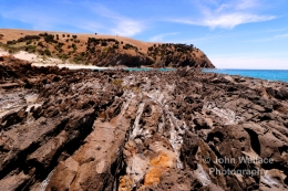 The rocky shoreline at the beautiful Western River Cove on Kangaroo Island, South Australia