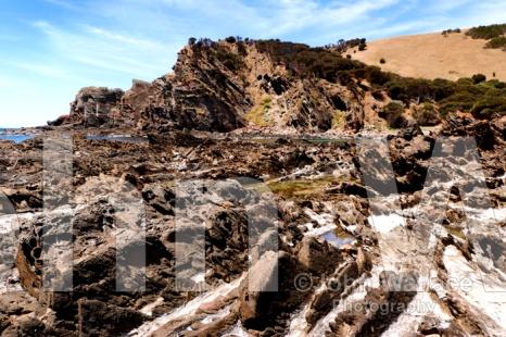The rocky shoreline at the beautiful Western River Cove on Kangaroo Island, South Australia