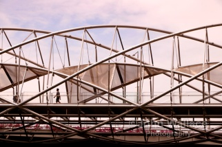 The geometric complexity of the Helix Bridge at Marina Bay in Singapore. The bridge has a distinctive double helix structure modeled on the DNA structure.
